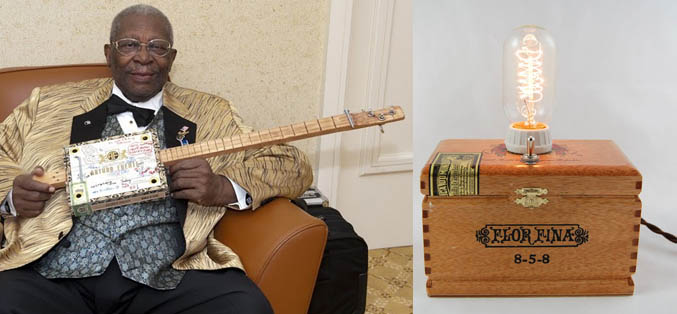 B.B. King with a Cigar Box Guitar / Cigar Box Lamp